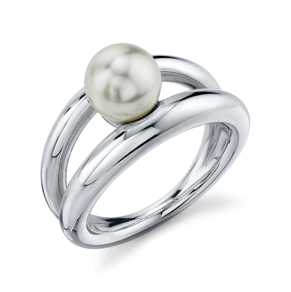Twin Tusk Suspended Pearl Ring