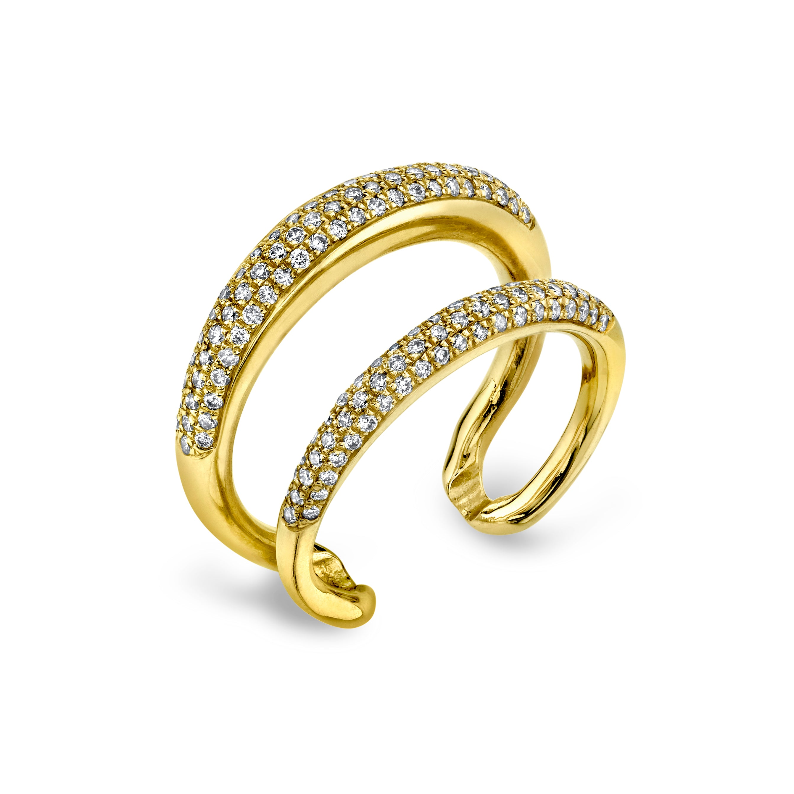 Twin Tusk Ring With Double White Pavé Diamonds - Gabriela Artigas