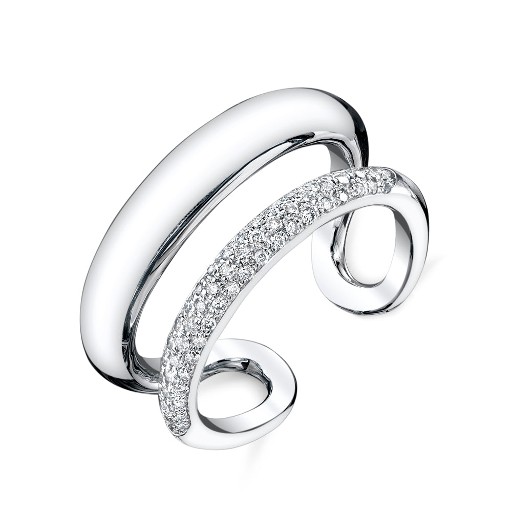 Twin Tusk Ring With Half White Pavé Diamonds - Gabriela Artigas