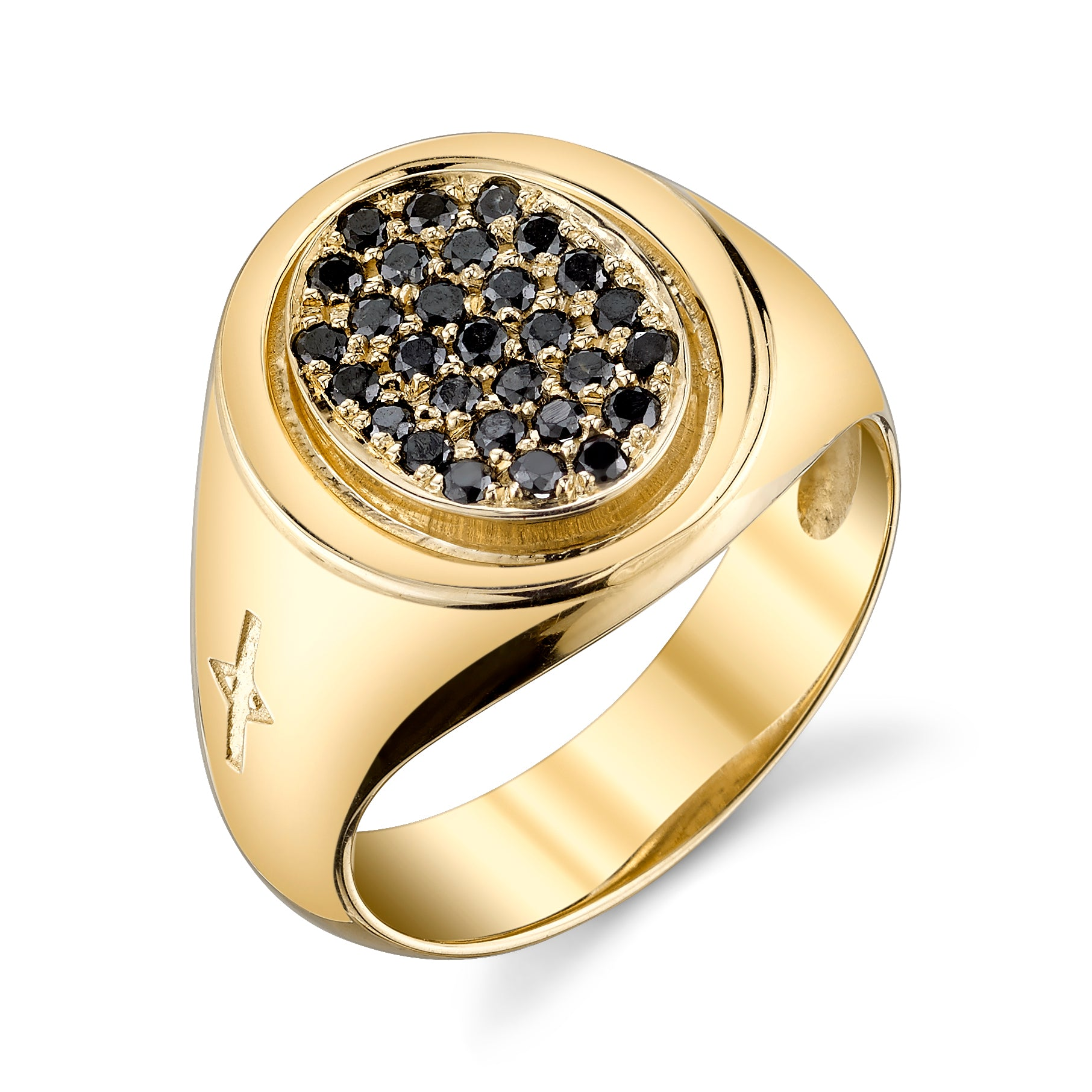 Oval Signet Ring With Black Pavé Diamonds - Gabriela Artigas