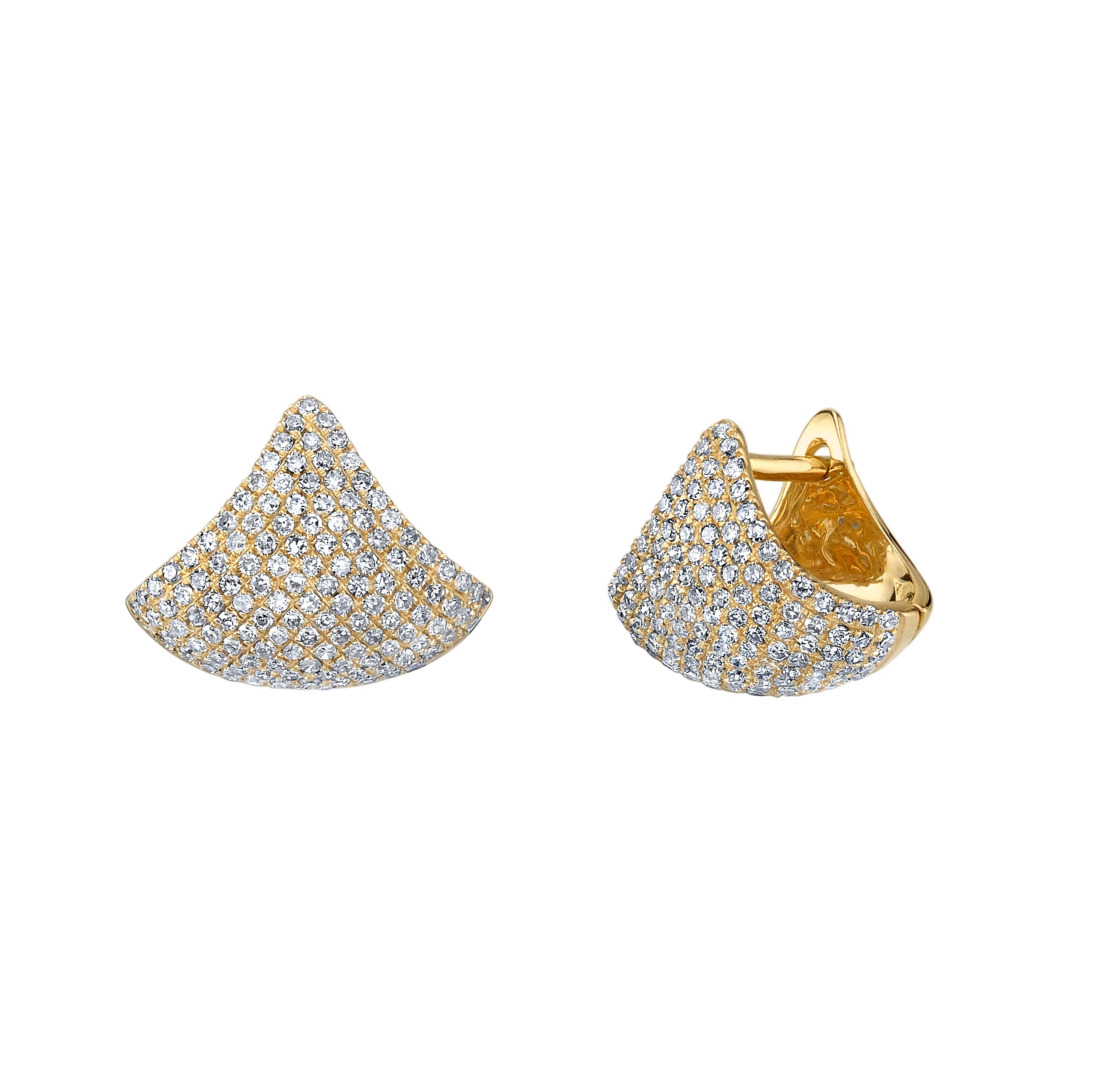 Small Apse Earrings With White Pavé Diamonds