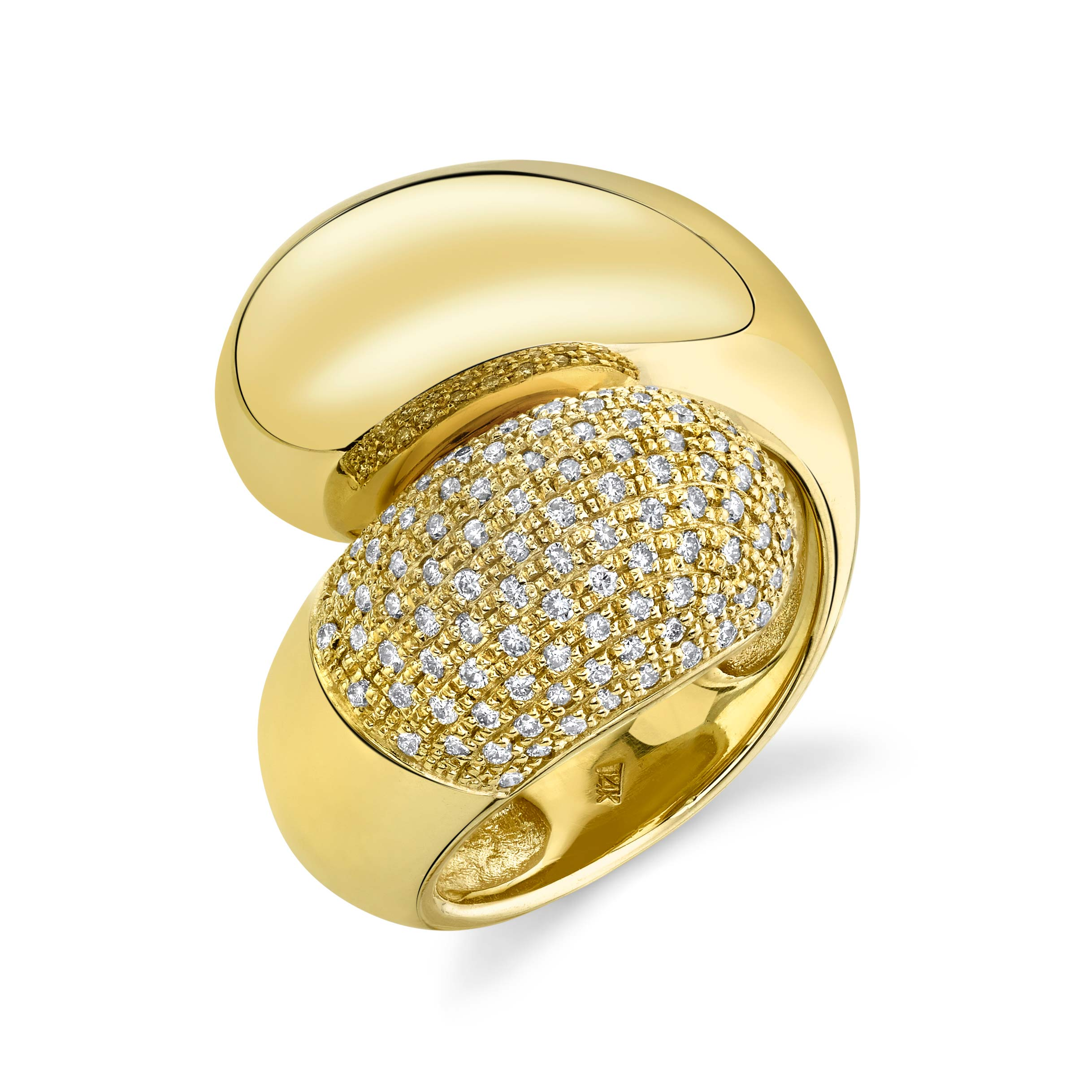 Double Apse Ring with One Side White Pavé Diamonds - Gabriela Artigas