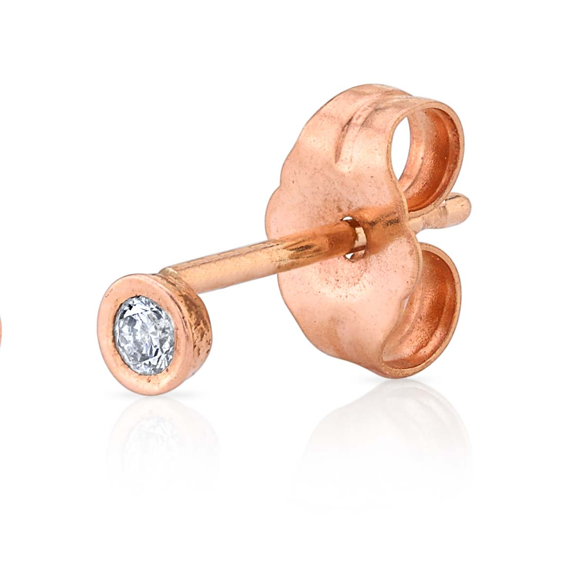 Baby Bezel Earrings in 14K Rose Gold - Gabriela Artigas