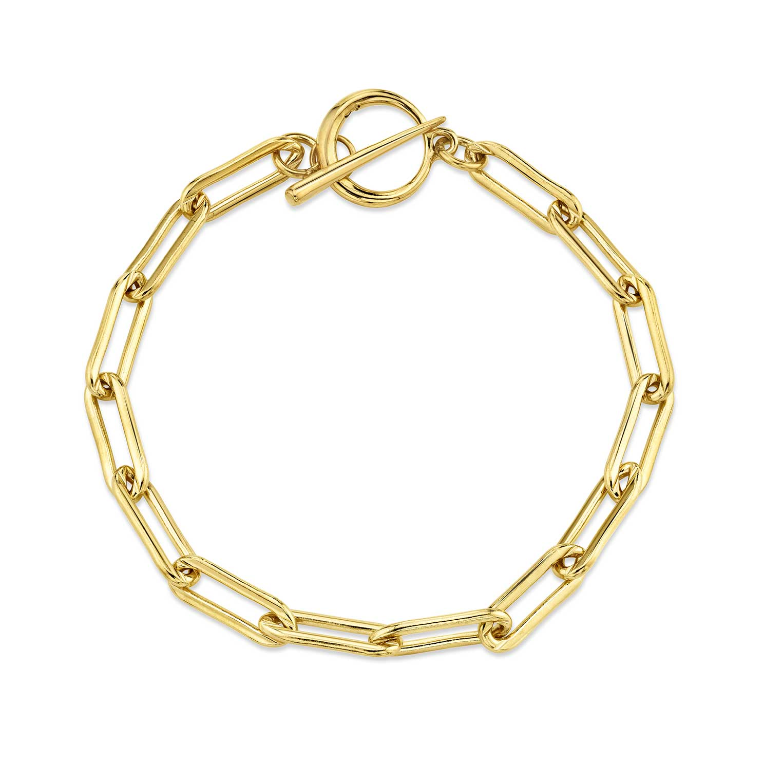 Rectangular Link Chain Bracelet With Tusk Clasp