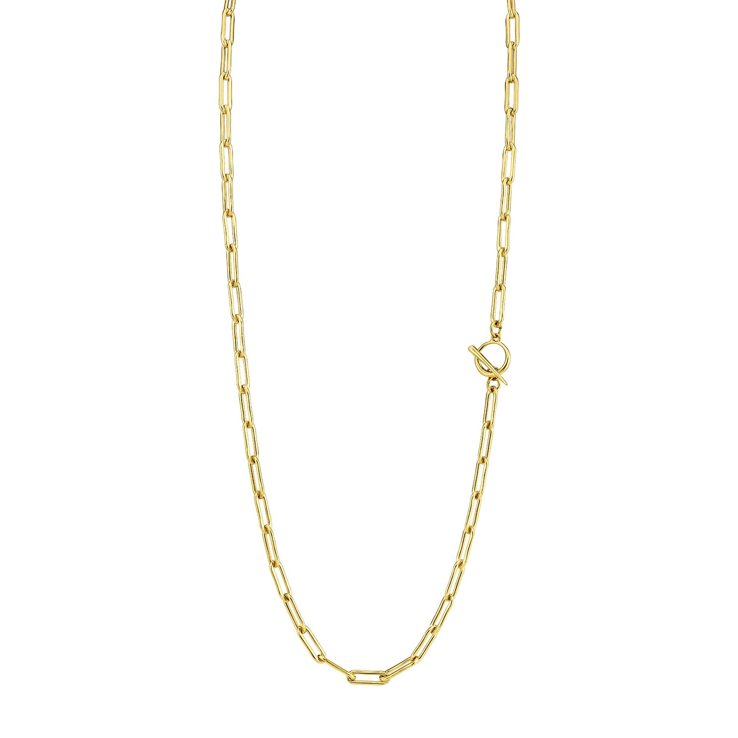 Rectangular Link Chain Necklace With Tusk Clasp