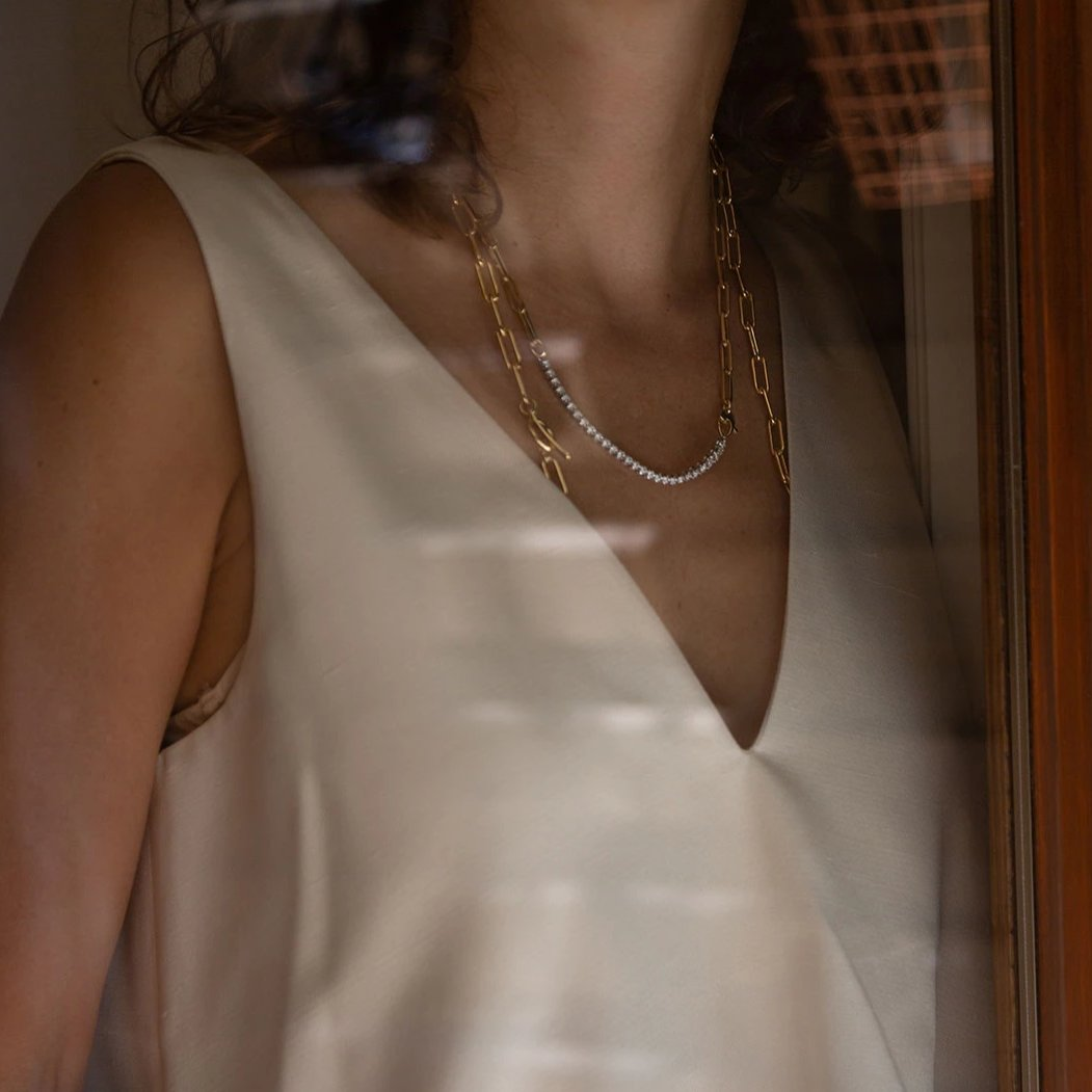 Rectangular Chain Necklace with Ascending Diamonds - Gabriela Artigas