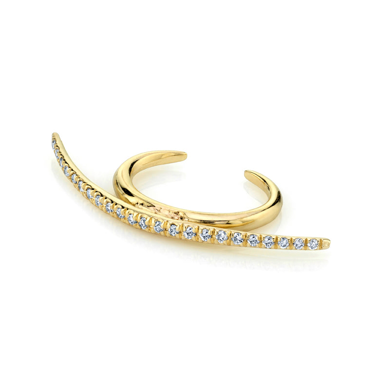 Bow Ear Cuff With White Pavé Diamonds - Gabriela Artigas