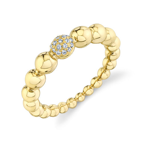Sphere Ring with Top White Pavé Diamonds - Gabriela Artigas
