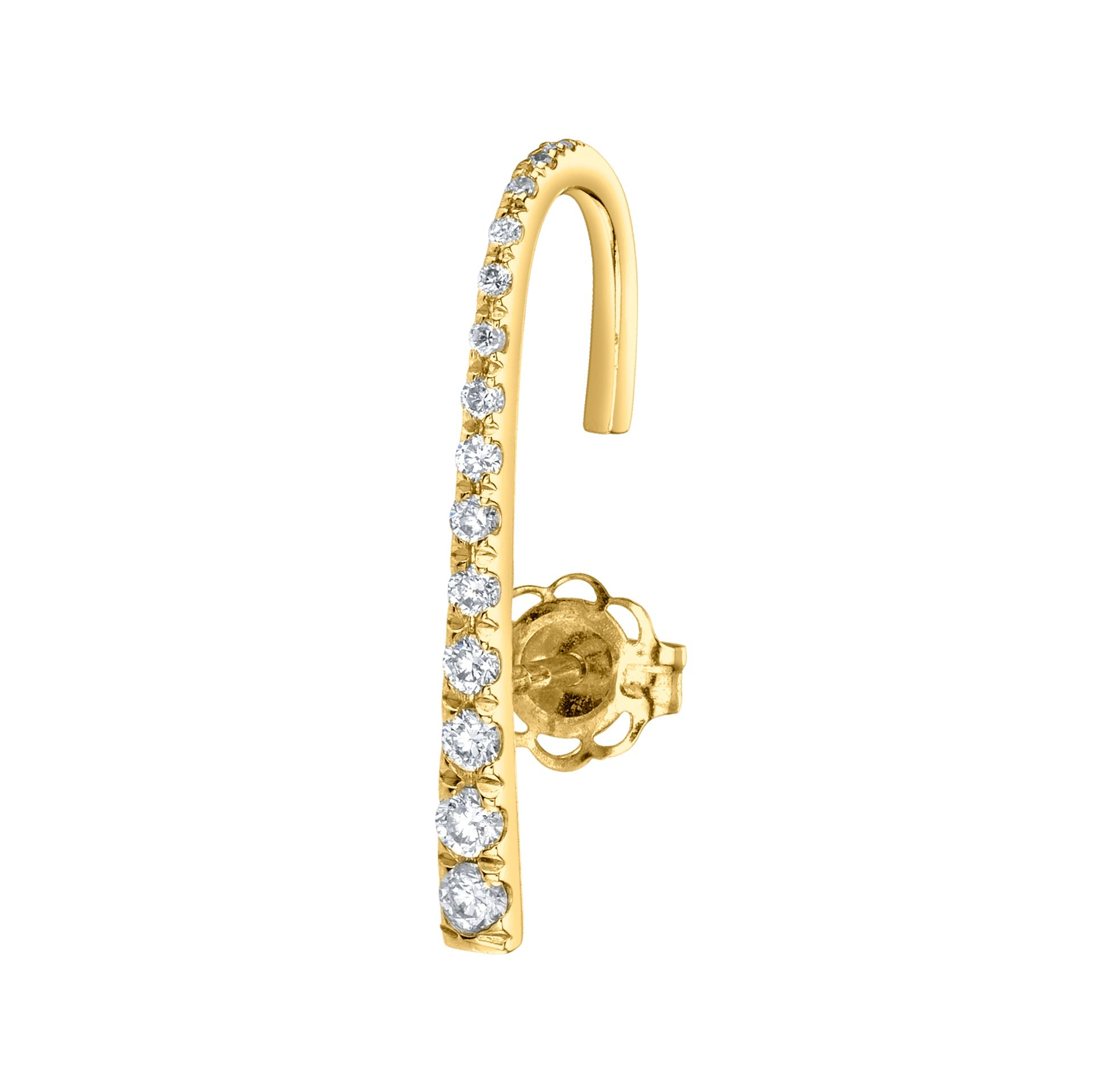J Earring With White Pavé