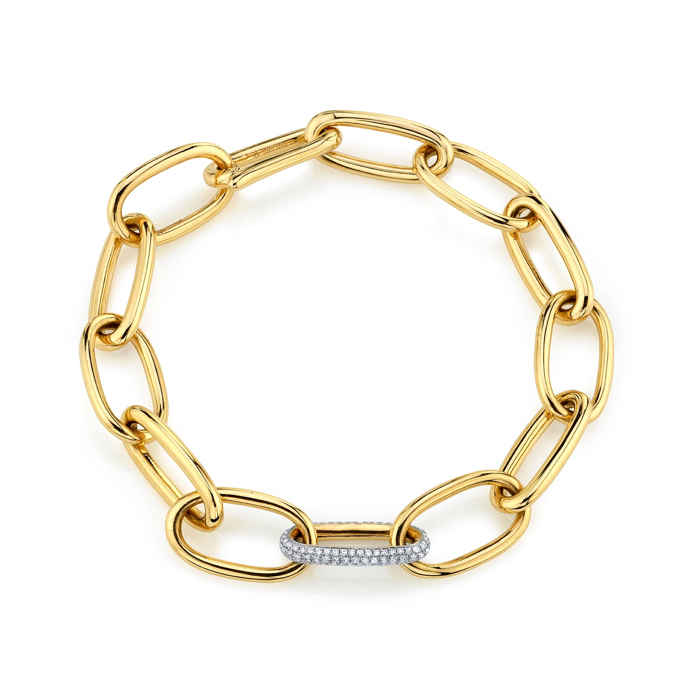 Long Rectangular Chain Bracelet with Pavé Invisible Clasp