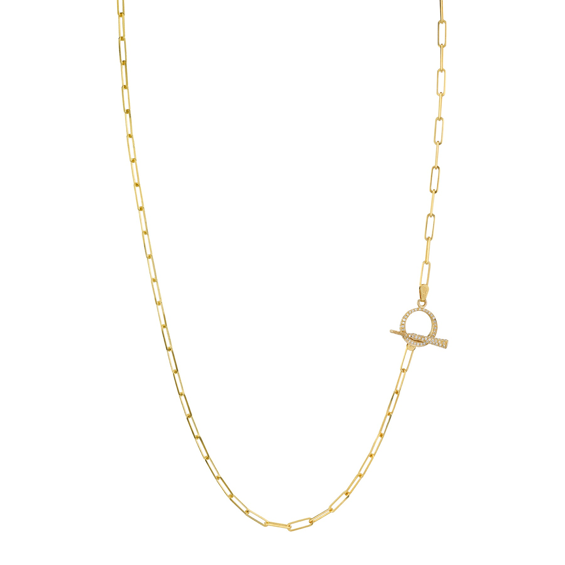 Thin Rectangular Link Lariat With Pavé Tusk Clasp