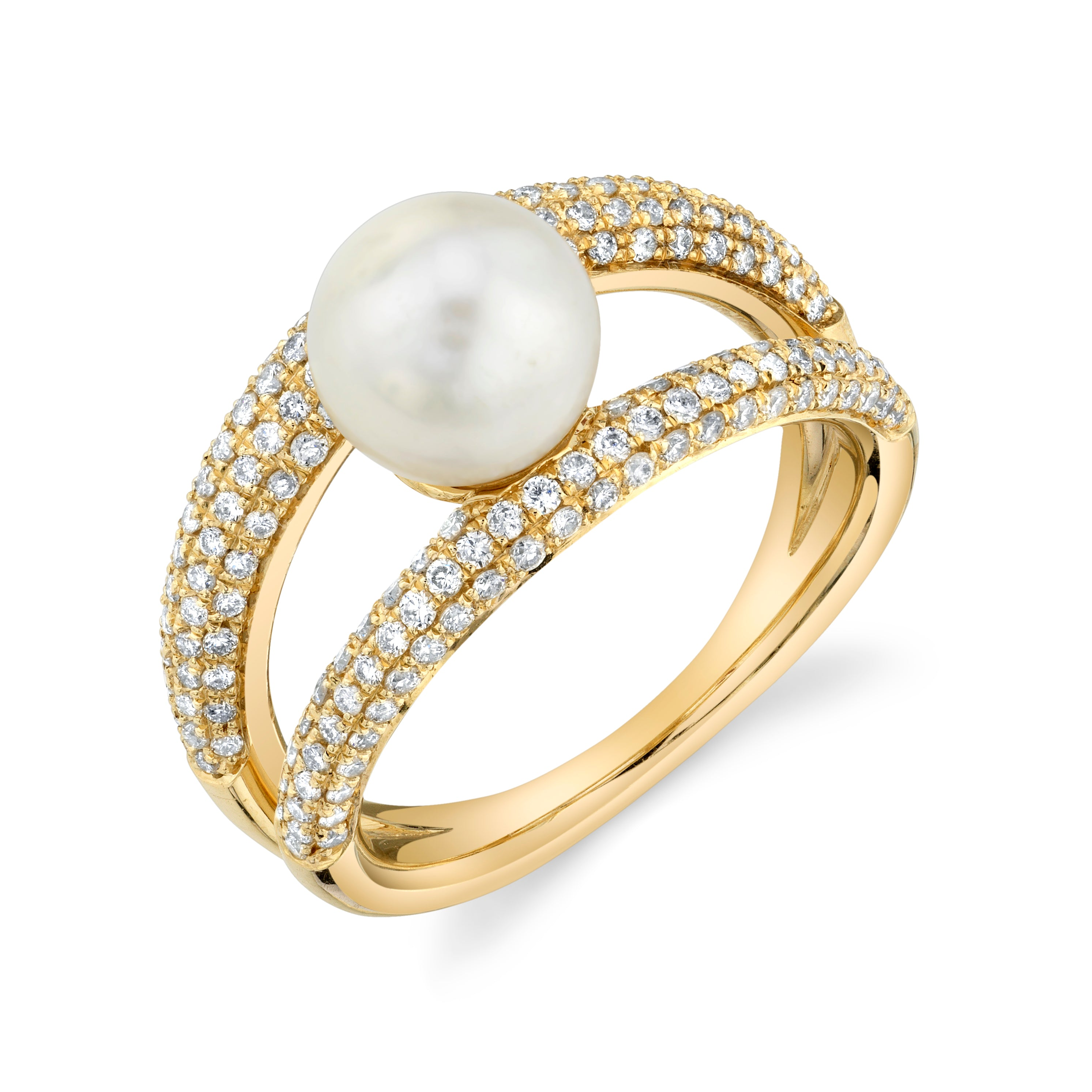 Twin Tusk Suspended Pearl Ring With White Pavé