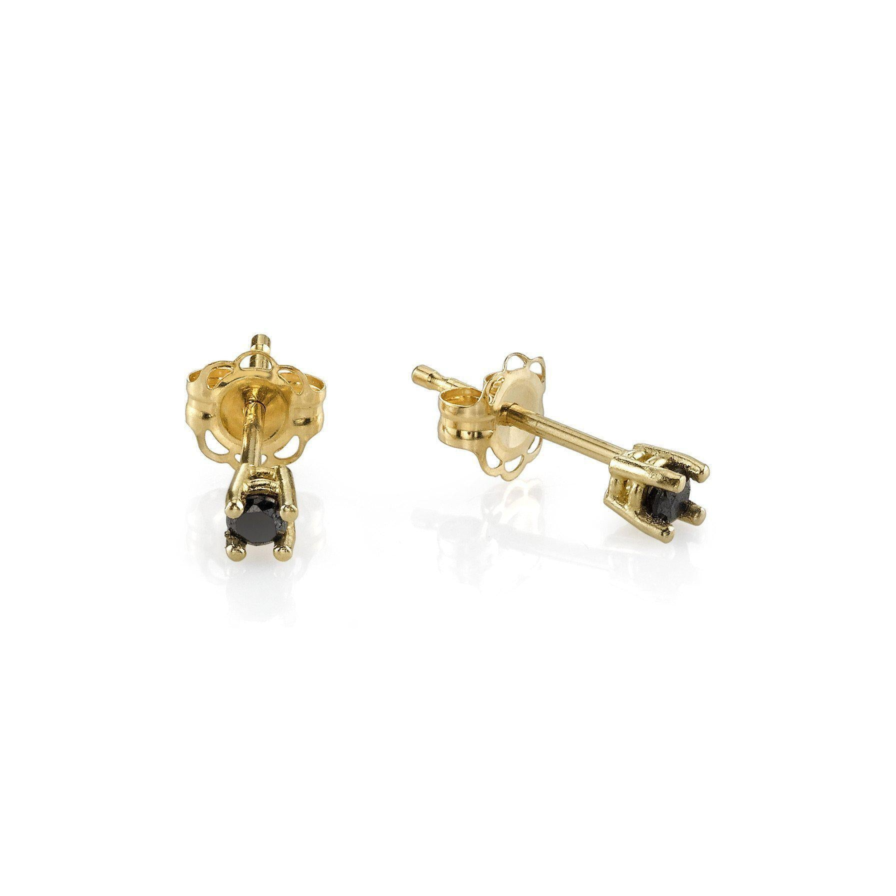 Baby Prong Earrings With Black Diamonds - Gabriela Artigas