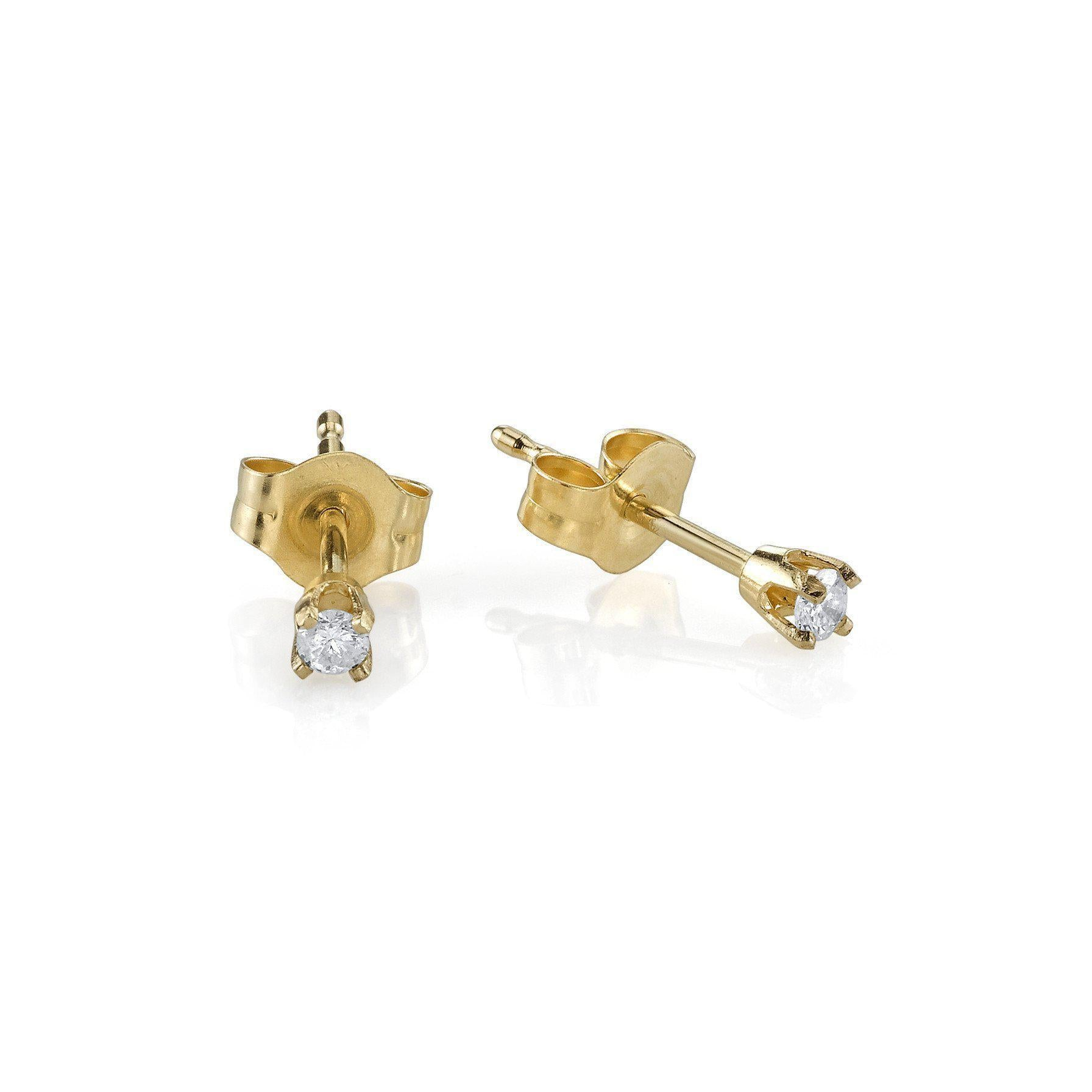 Baby Prong Earrings With White Diamonds - Gabriela Artigas