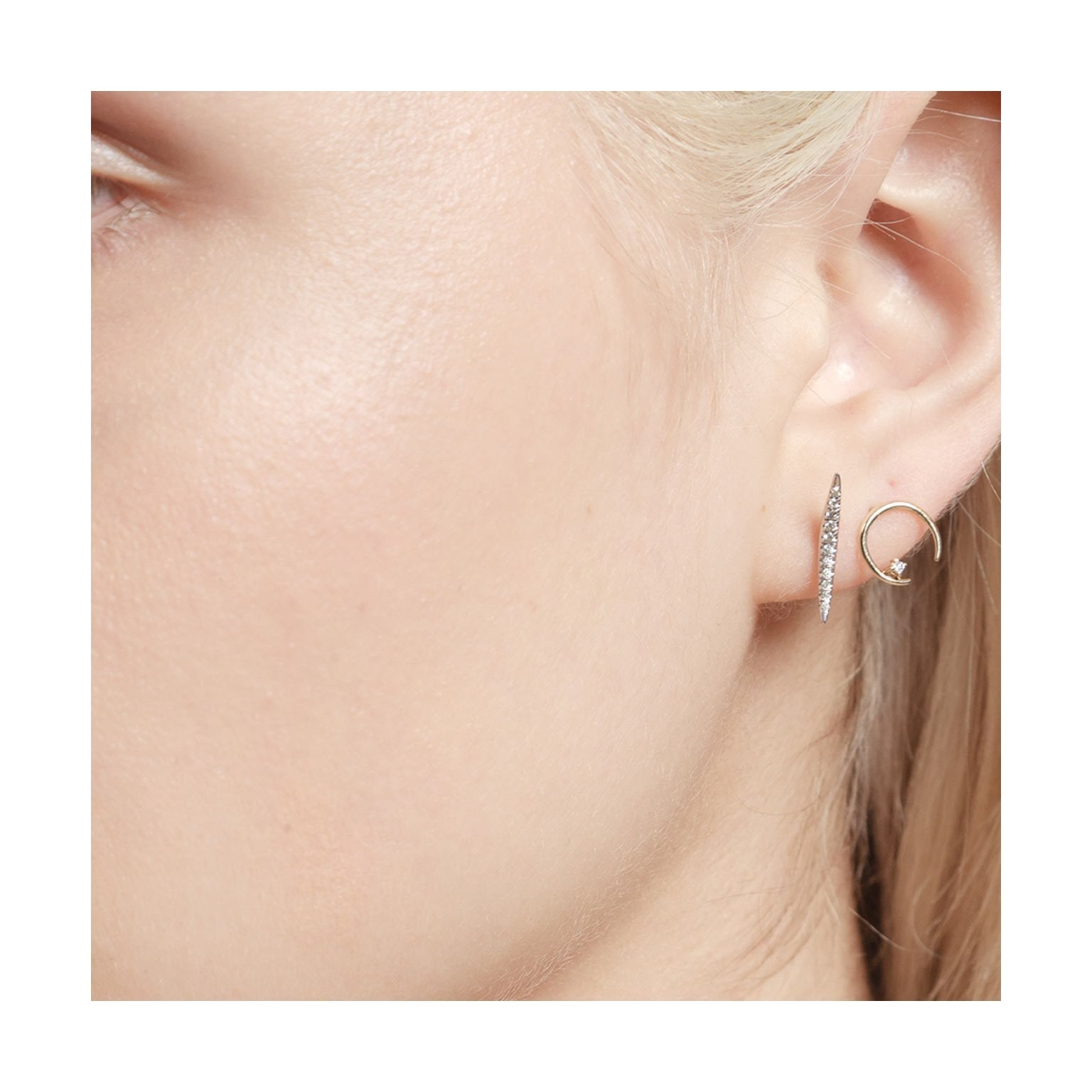 Diamond on Mini Rising Earrings - Gabriela Artigas