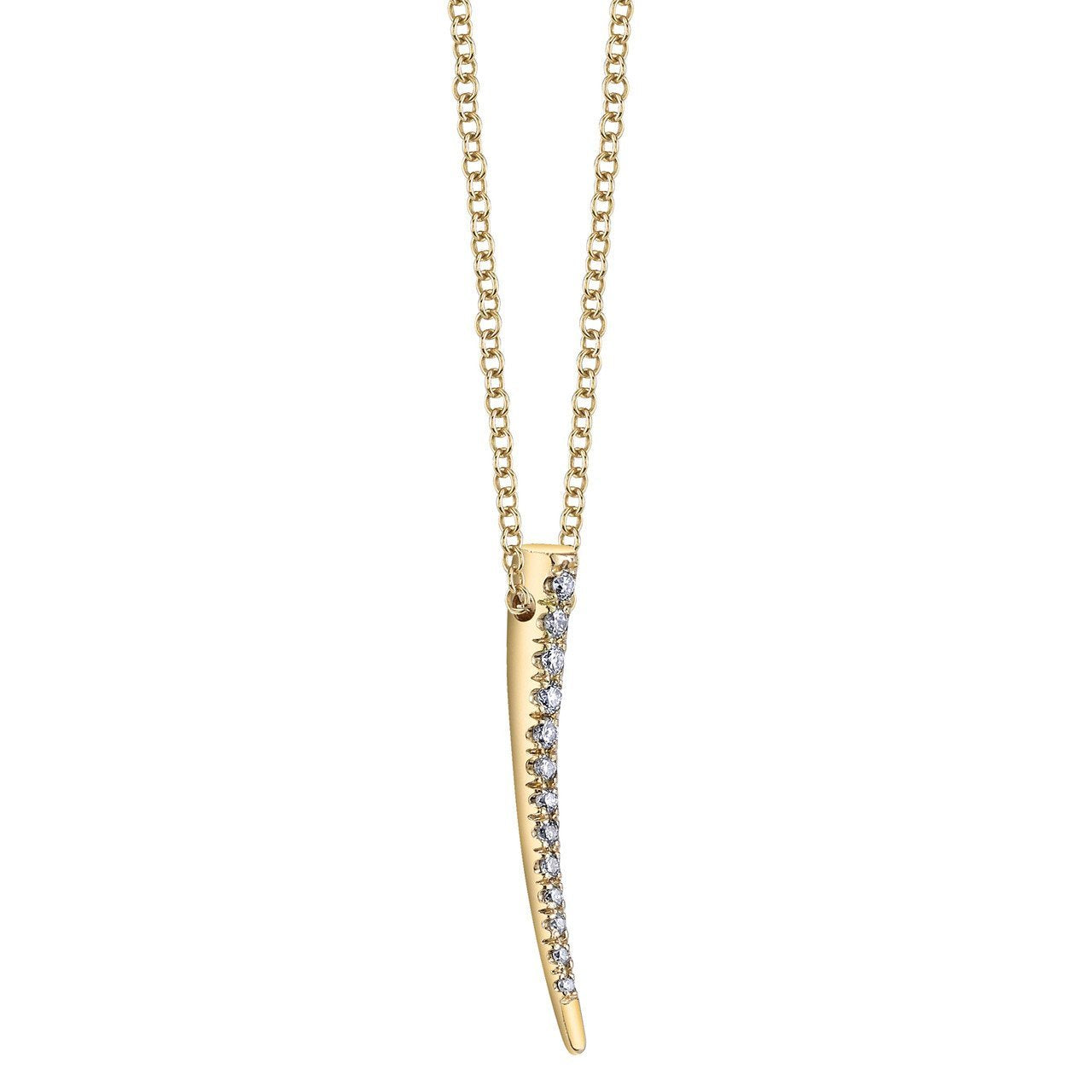 Gabriela Artigas Mini Signature Tusk Necklace with White Pavé