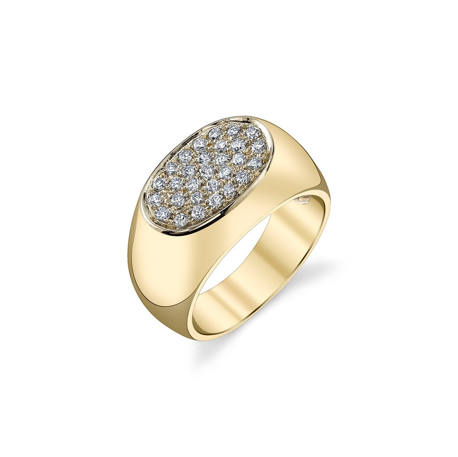Signet Ring With White Pavé Diamonds - Gabriela Artigas
