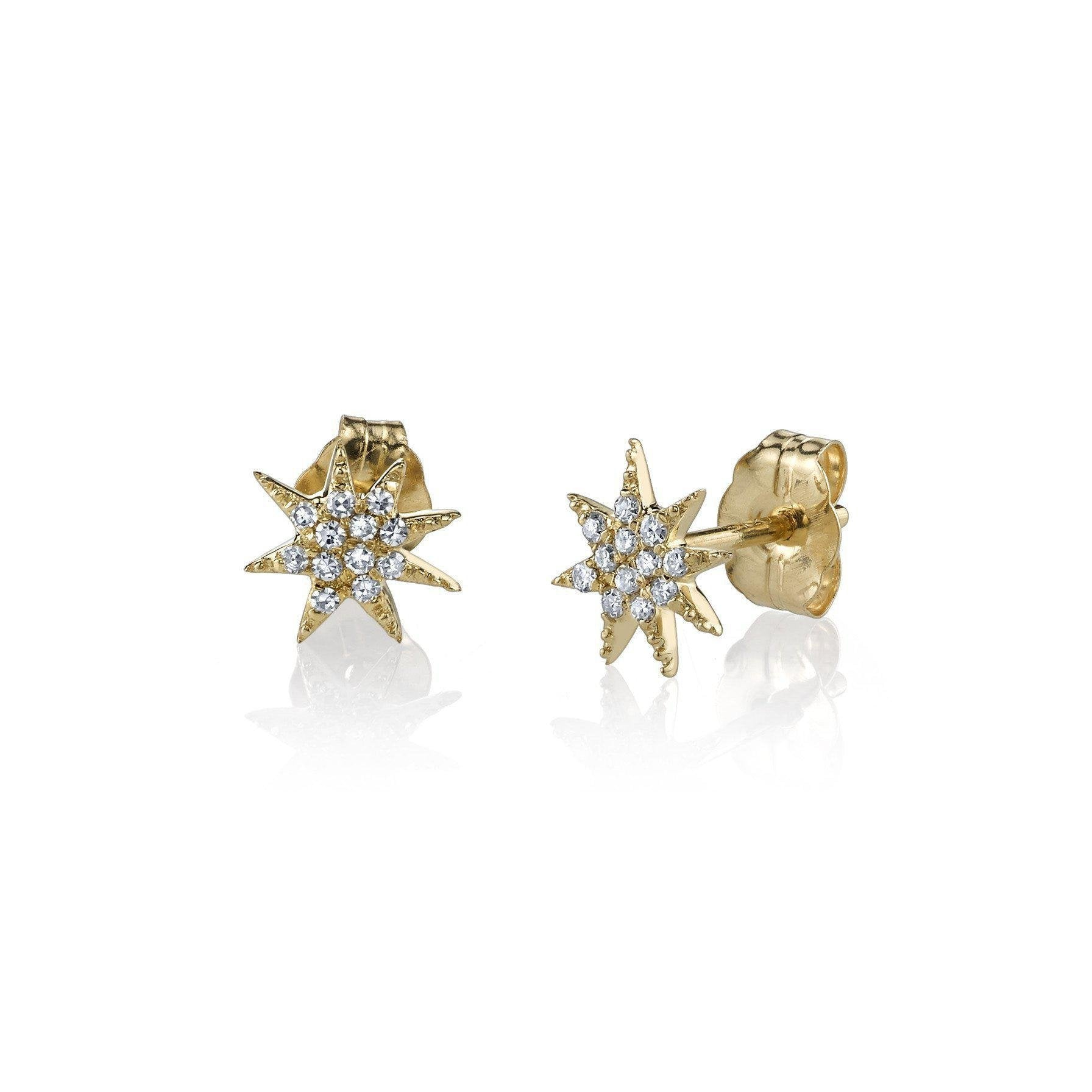 Single Star Earrings With White Pavé Diamonds - Gabriela Artigas
