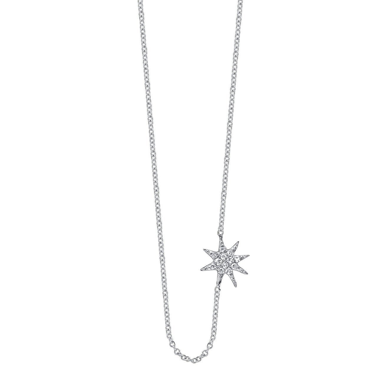 Single Star Necklace With White Pavé Diamonds - Gabriela Artigas