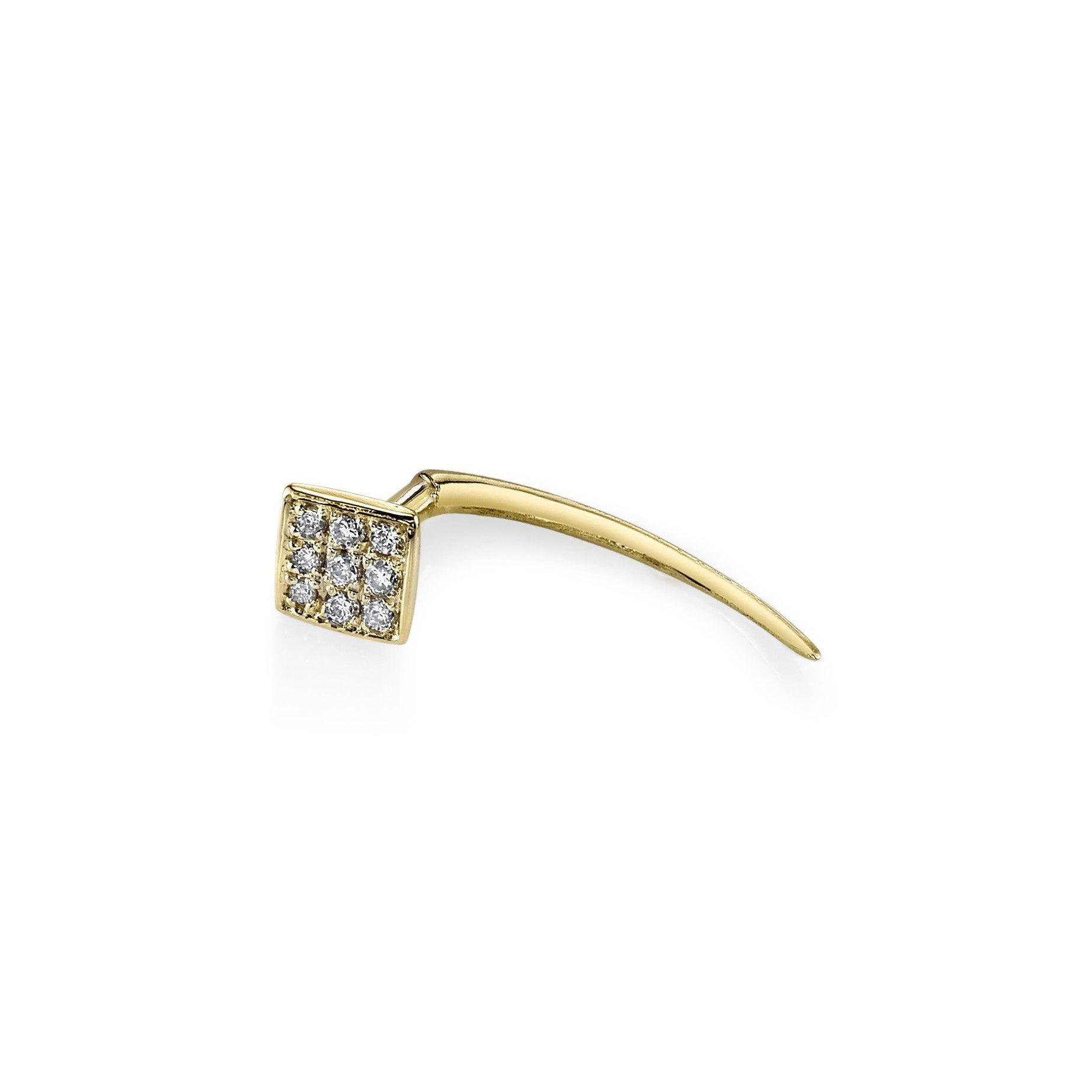 Square on Infinite Tusk Earring With White Pavé Diamonds - Gabriela Artigas