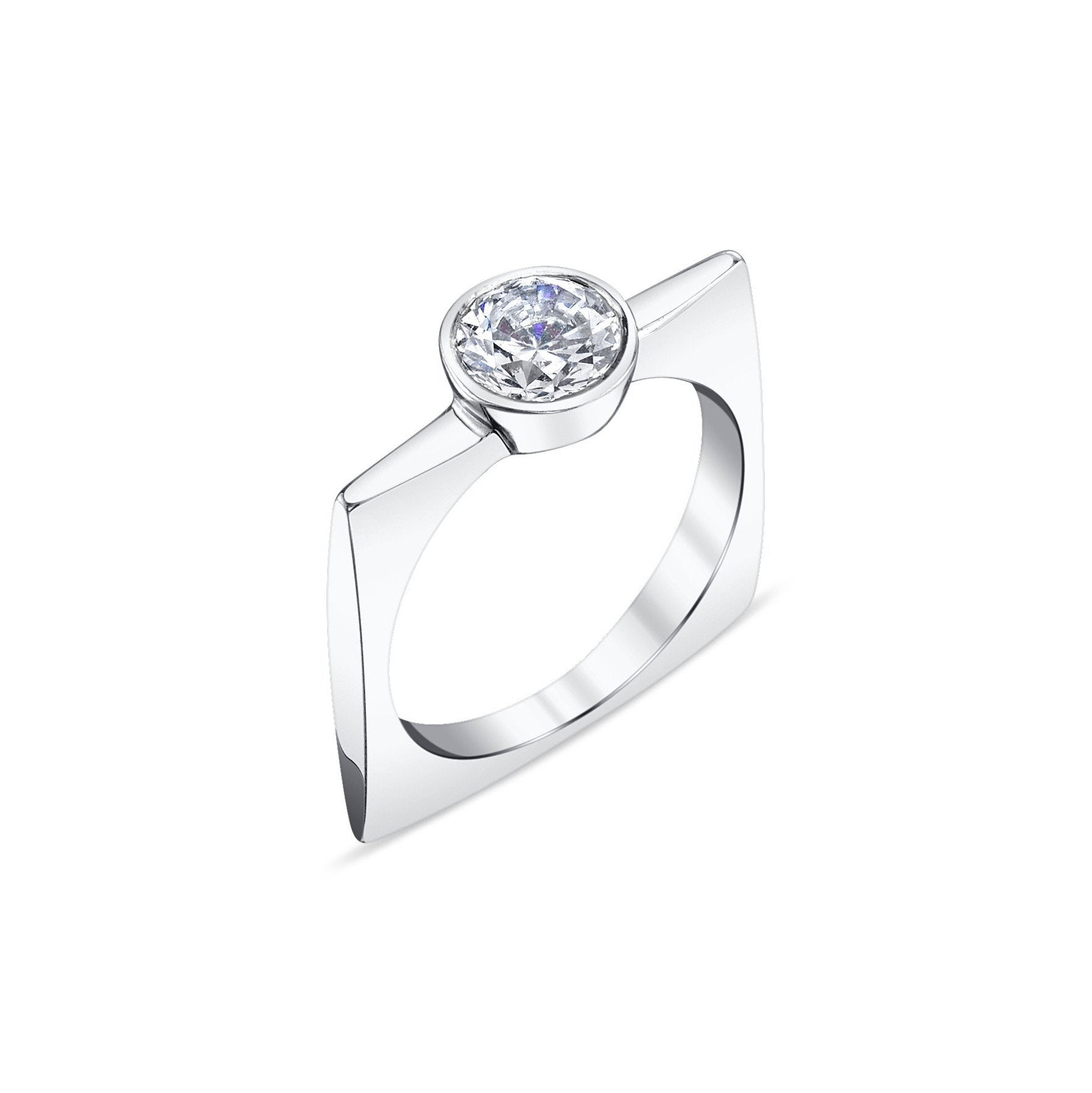Thin Tapered Square Ring With A Diamond - Gabriela Artigas