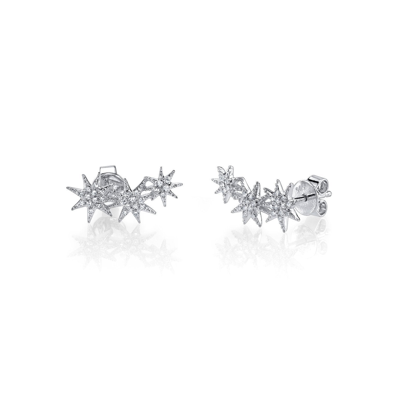 Gabriela Artigas Triple Shooting Star Earrings with Pave Diamonds (Pair)
