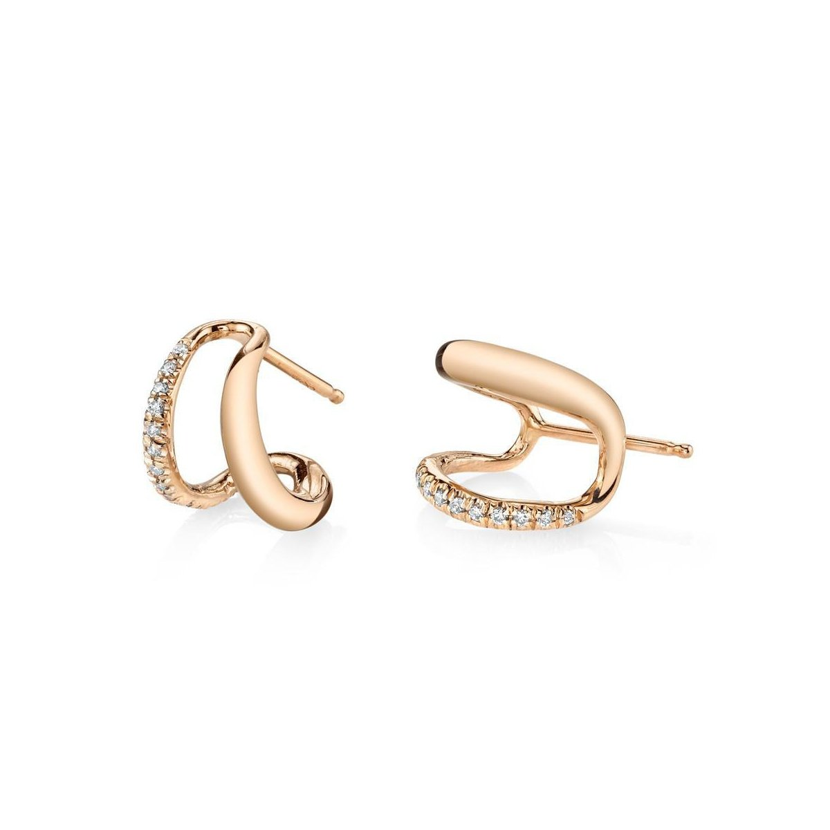 Gabriela Artigas Twin Tusk Earrings with White Pavé (Pair)