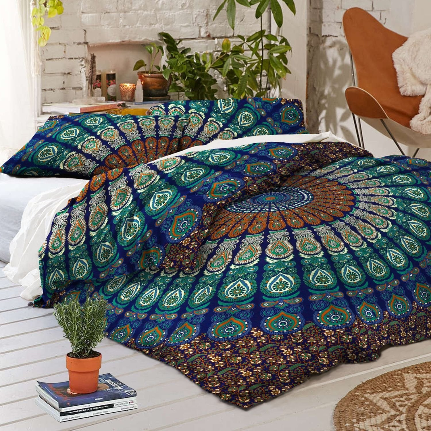 Labhanshi Exclusive Peacock Feather Mandala Queen Size Duvet Cover Omb : mandala quilt - Adamdwight.com