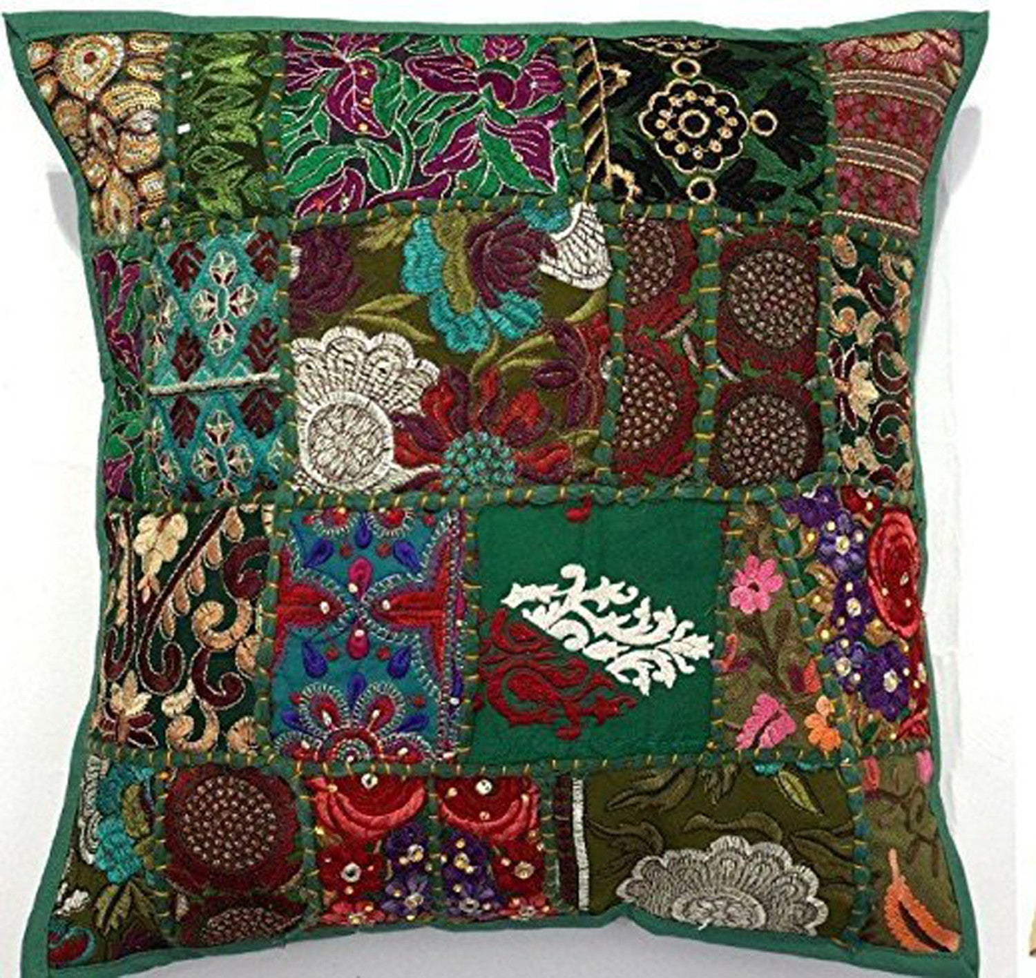 """EMBROIDERED SARI PATCHWORK CUSHION COVER GREEN , 17X17"""" INDIAN ..."""