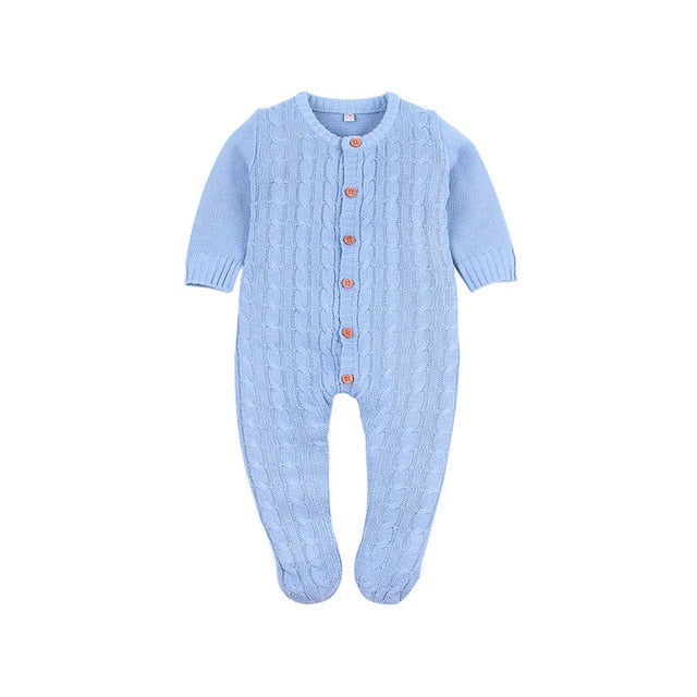 2019 Newborn baby boy rompers Toddler Jumpsuit Girls Candy Color Knitted Baby Clothes Infant Boy Overall Children Outfit Spring