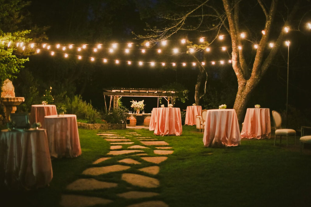 outdoor nighttime wedding reception