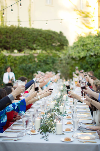 healdsburg wedding reception raising wine glasses