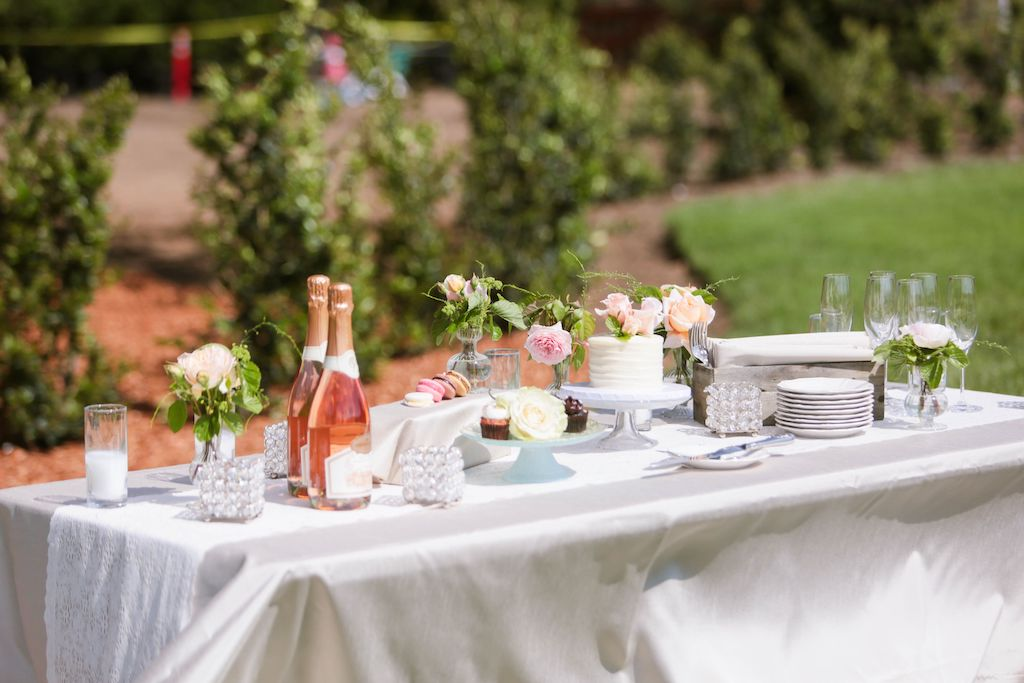 elopement food and wine table