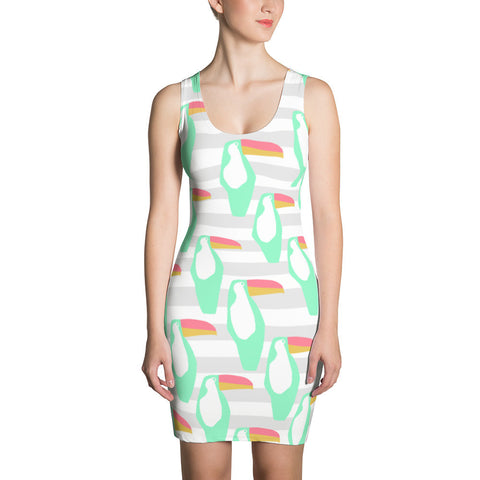 Mint and Grey Toucan Sublimation Cut & Sew Dress