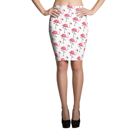 Flouncy Flamingo Pencil Skirt