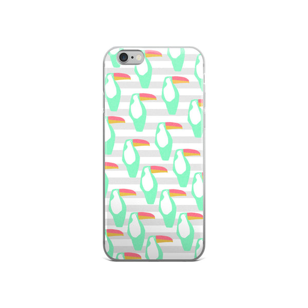 Mint and Grey Toucan iPhone 5/5s/Se, 6/6s, 6/6s Plus Case