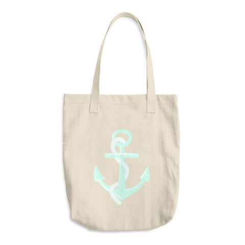 Mint Anchor Cotton Tote Bag