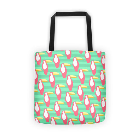 Green and Coral Toucan Tote bag