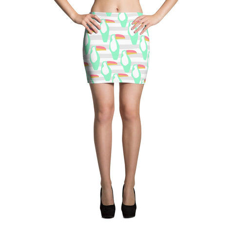 Mint and Grey Toucan Mini Skirt