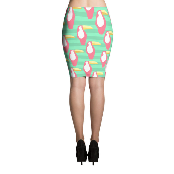 Green and Coral Toucan Pencil Skirt