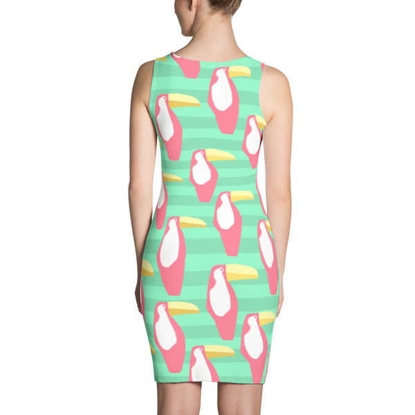 Green and Coral Toucan Sublimation Cut & Sew Dress