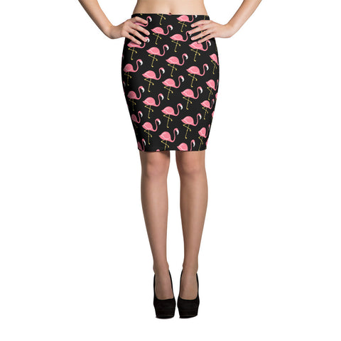 Flamingo Chic Pencil Skirt