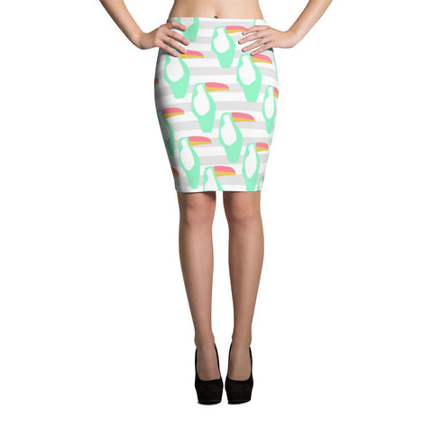 Mint and Grey Toucan Pencil Skirt