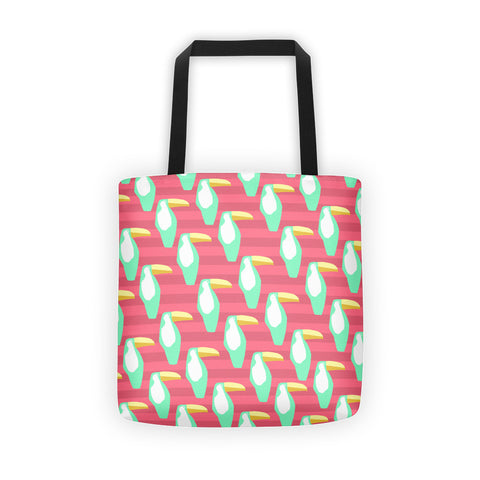 Dark Coral and Mint Toucan Tote bag
