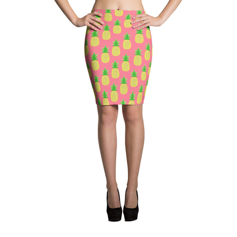 Tropical Pineapple Pencil Skirt