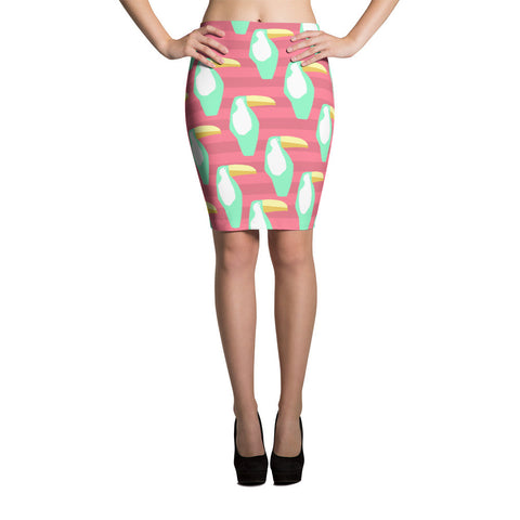 Coral and Mint Toucan Pencil Skirt