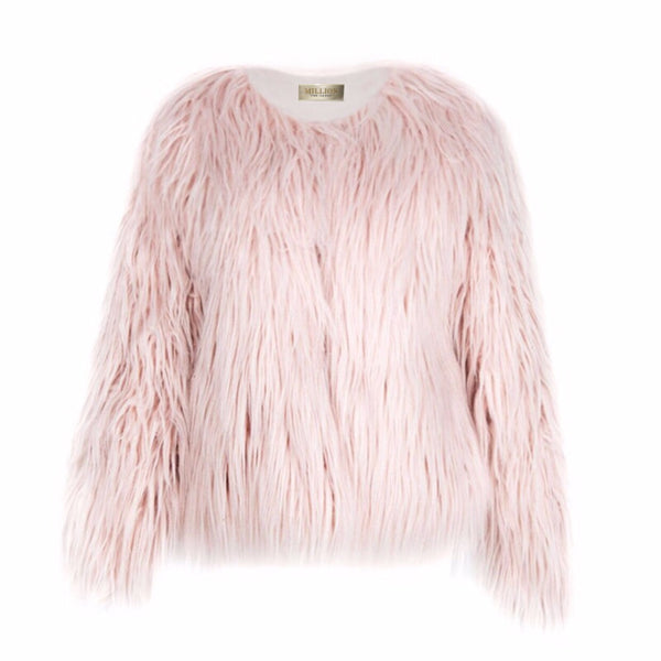 FLUFFY FAUX FUR COAT | PINK