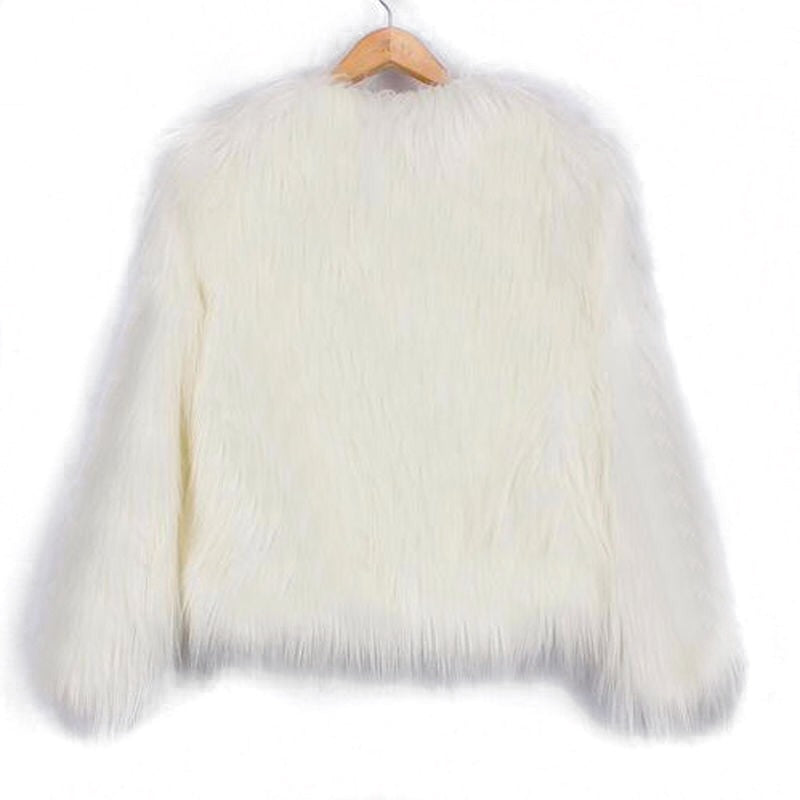 FLUFFY FAUX FUR COAT | WHITE