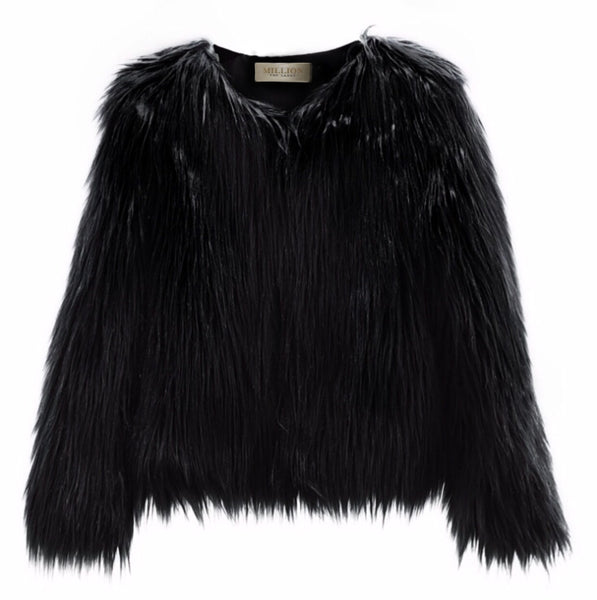 FLUFFY FAUX FUR COAT | BLACK