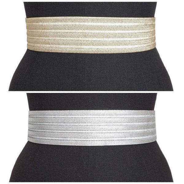 Metallic Gold/ Silver Elastic Belt